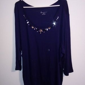 Lane Bryant Blue Top Jeweled Neck Size 22/24 NWT